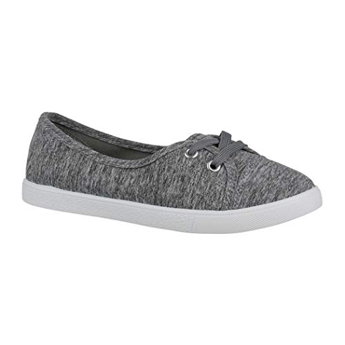 Elara Damen Ballerinas | Bequeme Sneaker Slipper | Schnürer Halbschuhe | sportlich Flats | Chunkyrayan CL33311 Grey-39