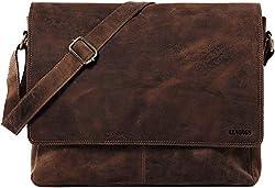 LEABAGS Oxford Umhängetasche Laptoptasche 15 Zoll aus Leder im Vintage Look, Maße (BxHxT): ca. 38x31x10 cm, Brown Like Muskat