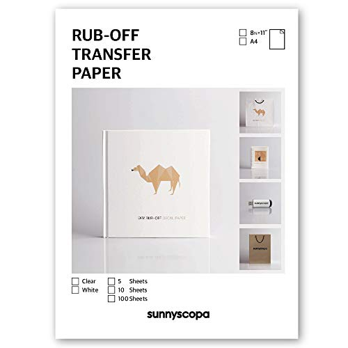 Sunnyscopa Rub-Off Transfer Paper for Inkjet Printer - Clear, A4, 5 Sheets - for DIY Personalized Gifts, Albums on Weddings, Anniversaries, Christmas and More