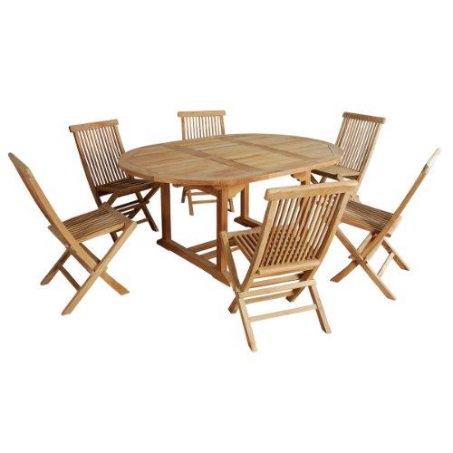 Garden and Co Esstischgruppe aus hochwertigem naturbelassenem Teakholz für 6/8 Personen. Tisch rund/ oval Maße 120/170cm inklusive 6 Stühle