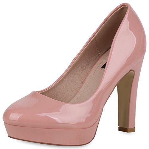 SCARPE VITA Damen Plateau Pumps Lack High Heels Stiletto Party Abendschuhe 162778 Rosa Lack 37 Rosa Stiletto Heel