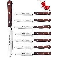 Emojoy Steakmesser, Premium 8-Teiliges Steakmesser Set, rostfreier Edelstahl Steakbesteck mit beidseitiger Klinge und ergonomischem Pakkaholzgriff,Dessertmesser