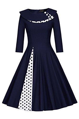MisShow Damen Vintage Kleid 50er Jahre lamgarm Rockabilly Kleid Festlich Kleid Faltenrock Gepunkt Knielang- Gr. M, Navy Blau