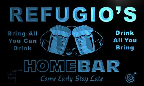 p920-b Refugio's Home Bar Beer Family Last Name Neon Light Sign Barlicht Neonlicht Lichtwerbung