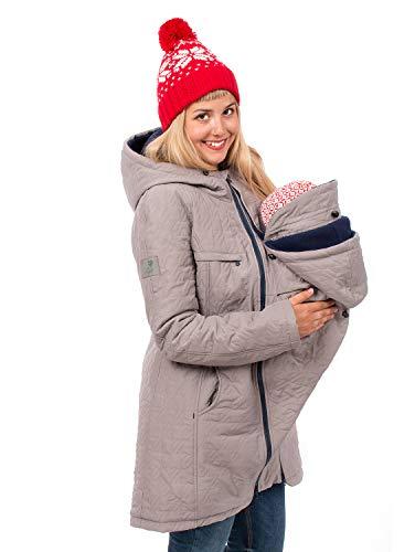 Viva la Mama Winterumstandsmantel Tragejacke lang warm Umstandsmode Jacke Damen Polaris hellgrau - M