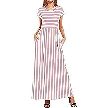 VENMO Vestidos Largo Mujeres,Vestido a Rayas de Cintura elástica de Manga Corta Casual para