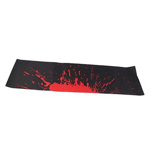 PVC Skateboard-Aufkleber Rutschfest Griptape für Skateboard oder Longboard, 84 x 23 cm - Schwarz und Rot ()