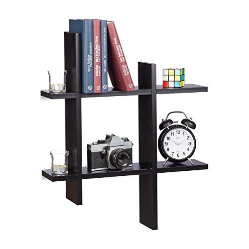 Relaxdays 10021818_46 scaffale da parete con 6 scomparti, mensole sfalsate, hxlxp 58,5 x 58,5 x 10 cm, nero