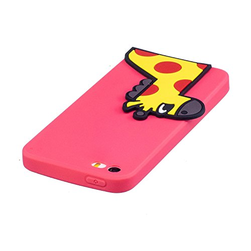 EUWLY Silicone Custodia per iPhone 5S/iPhone SE, 3D Creativo Cute Cartoon Frutta Solid Modello TPU Cover Case per iPhone 5S/iPhone SE Ultra Sottile Morbido Silicone TPU Cover Copertura Diverso Colorat Cervo
