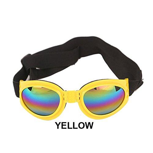Aprigy - Sommer-Haustier Einstellbare Hundesonnenbrillen Brille Schutzbrillen Medium Large Welpen Haustier-Produkt Faltbare Brille Hundezubeh?r [Gelb ]