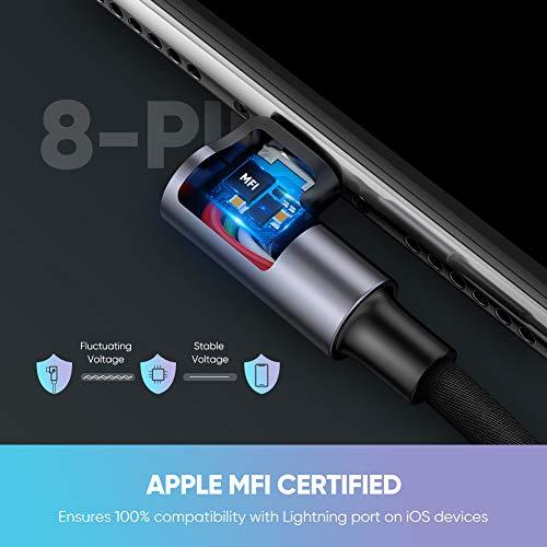 UGREEN Cable Cargador iPhone 90 Grados Cable Lightning Apple MFI Certificado Nylon Trenzado ángulo Recto para iPhone XS,  XS MAX,  XR,  X,  8 Plus,  7,  6s,  6 Plus,  6S,  5C,  5 SE,  iPad y Airpods.(1 Metro)