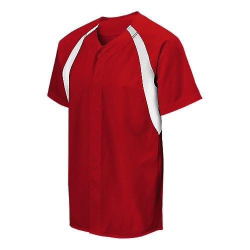 Mizuno Full Button Mesh Colorblock Jersey, Herren Damen, 350254.1000.04.S, rot/weiß, S -