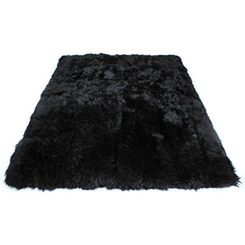 Naturasan - Alfombra (piel de oveja, de pelo largo), diseño retro, negro, 160 x 230 cm