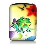 Luxburg® Design Tasche Hülle Sleeve Etui für eBook Reader und Tablet PC bis 7 Zoll, Motiv: bunter Frosch