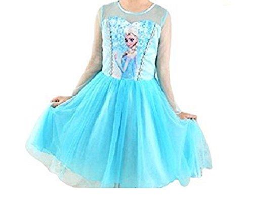 Dressing Up Kleid Elsa (Stmp Kostüm Frozen Elsa Jahre 140 6-7 Schneekönigin Queen-Kleid-Mädchen Kleines Mädchen mit)