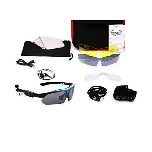Comaie Brille Sportkopfhörer Sonnenbrille Stereo Musik Wireless Bluetooth Headset 4.1 Kopfhörer Eyewear Outdoor Aktivitäten Kopfhörer Freisprecheinrichtung Smart Five Lens Kit Blue Frame