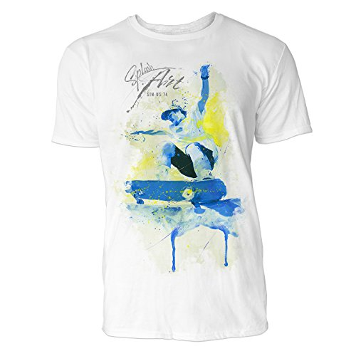 Skateboarder Sinus Art ® Herren T Shirt ( Weiss ) Crewneck Tee with Frontartwork (Zboys Skateboards)