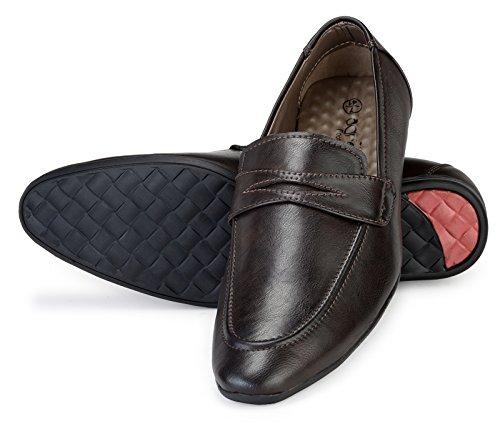 Adreno faux cuir les appartements des hommes glissent sur des chaussures intelligentes occasionnels - taille disponible Marron