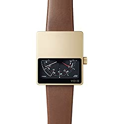Void V02MKII-GO/LB Men's Analog Brown Leather Band Black Dial Watch
