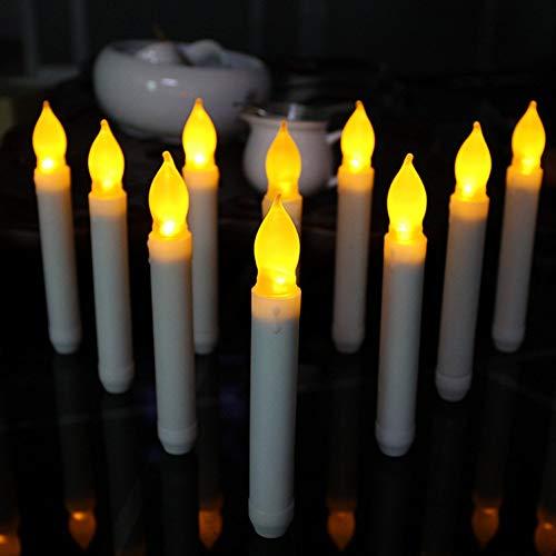D Taper Kerzen, für Hochzeit,Gelb Flackern/Flammenlose Glühbirnen Batteriebetriebene LED Säule Kerzen für Party Home Dekoration,Weihnachten, Halloween Thanksgiving ()