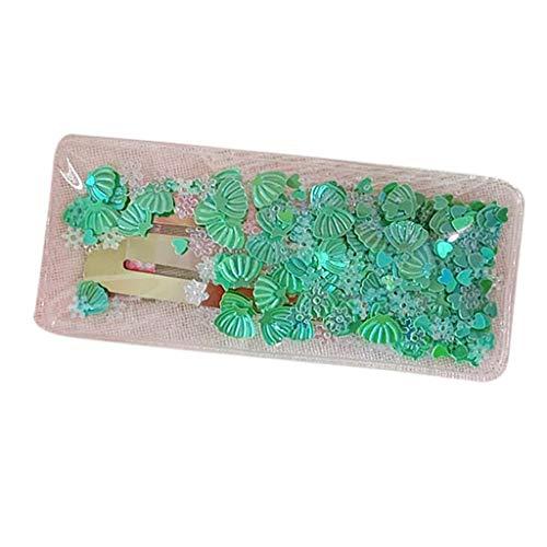 Moto Kostüm Girl - ZOOMY Young Girls Haarspangen Jelly Transparent Glitter Muschel Pailletten Haarnadeln Rechteck Sweet Candy Color Snap Haarspangen - Grün