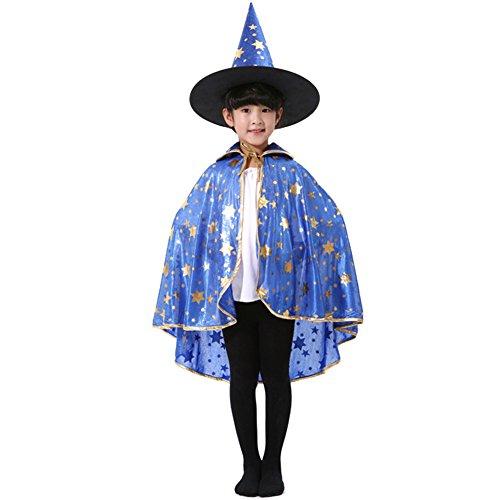 Per Halloween Cape Shining Sechs-Sterne Fan-förmigen & Kürbis Masquerade Hexe Zauberer Umhang mit Hut für Kinder Jungen Mädchen (Kleinkind Hexe Kostüm Böse)