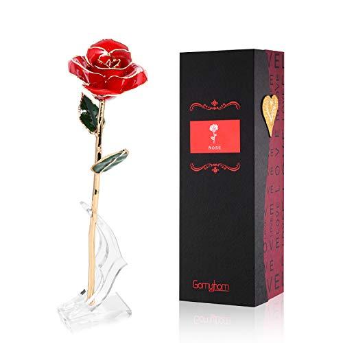 Gomyhom Rose Geschenk für Frauen, Ausgefallene Geschenke für Frauen/Freundin/Mutter/Oma, Goldene Rose Ich Liebe Dich Geschenke für Valentinstag/Muttertag/Geburtstag/Hochzeitstag/Weihnachten/Jahrestag