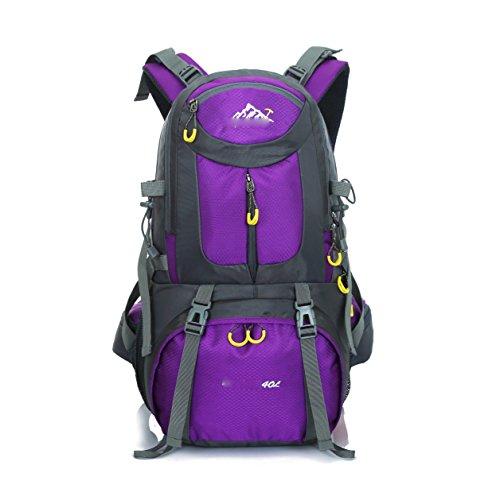 LQABW 50L Professionelle Outdoor-Bergsteigen Tasche Wasserdichte Wander Camping Rucksack Angelbedarf Purple