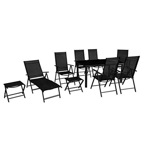 Lingjiushopping extérieur Ensemble de salle à manger 10 pièces Aluminium Noir Cadre pliable Couleur : Noir Matériau : Aluminium