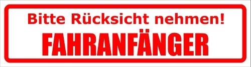 Kiwistar Magnetschild 30x8cm Bitte Rücksicht nehmen. Fahranfänger für KFZ und Metalloberflächen