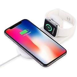MASOMRUN 2 in 1 Caricabatterie Wireless, Ricarica per Apple Watch series2/3/4,Wireless caricatore veloce 7.5W, Ricarica induttiva per iPhone X, S6/S6 Edge/S7/S7 Edge/S8 +/Note 8, iPhone X/X MAX/8/8P