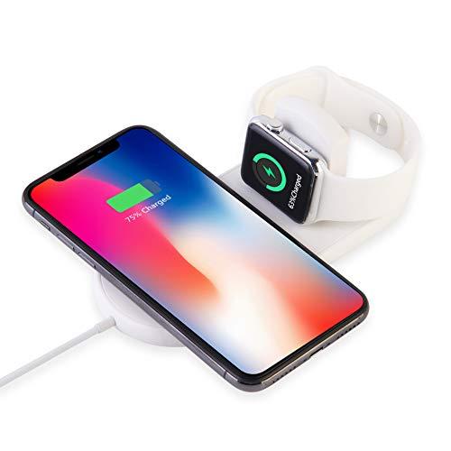 MASOMRUN 2 in 1 Wireless Ladegerät,zusammenklappbare Ladeschale 7.5 W/10 W, Qi Wireless Charging Stand Kompatibel für Apple Watch Series 1/2/3/4,iPhone X/8/8 Plus,Samsung Galaxy Weiß - 0 X 8 Serie