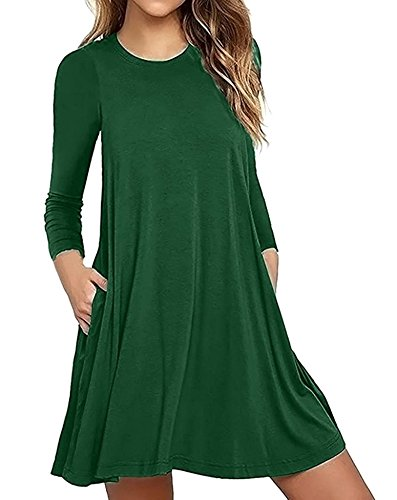 ZIOOER Damen Pulli Shirt Langarm Casual Lose T-Shirt Kleid mit Taschen Grün M (08 Langarm-t-shirt)