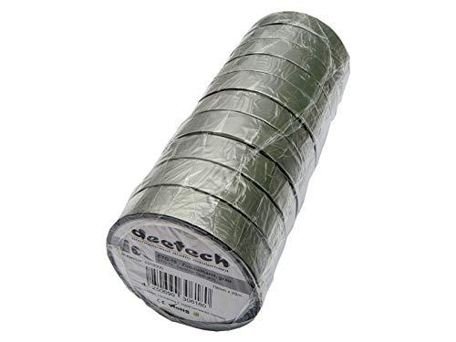 10er Set deetech ETG-19 Zumbelband/Isolierband - 19mm x 25m Rolle, grau