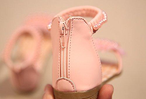 Gaorui Kinder Mädchen Sandalen Prinzessin Schuhe Sommerschuhe Knöchelriemchen Flache Römersandalen mit Perle Weiß