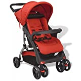 vidaXL Buggy cochecito silla Baby carro Niños Paseo Rojo 102x 52x 100cm