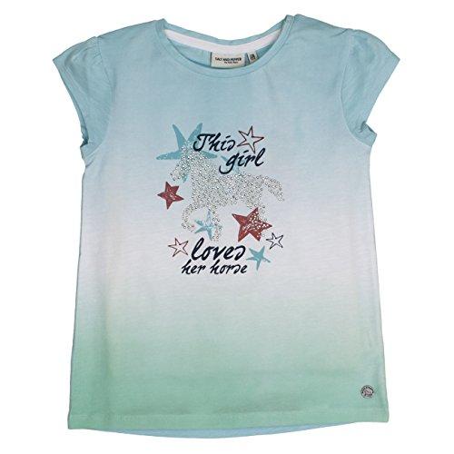 SALT AND PEPPER Mädchen Horses Uni Steine T-Shirt, Blau (Light Cyan 412), 116 (Herstellergröße: 116/122)