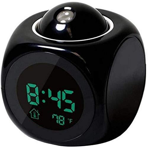 Reloj Despertador Proyección LCD Voz Que Habla Reloj Despertador Luz de Fondo Proyector Digital electrónico...