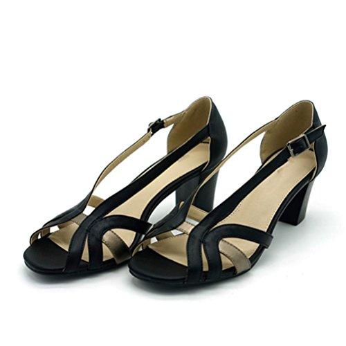 QPYC Tacco ruvido con tacco alto da donna Pacchetto di tacchi Quadrato Cattura con fibbia Comode scarpe singole black