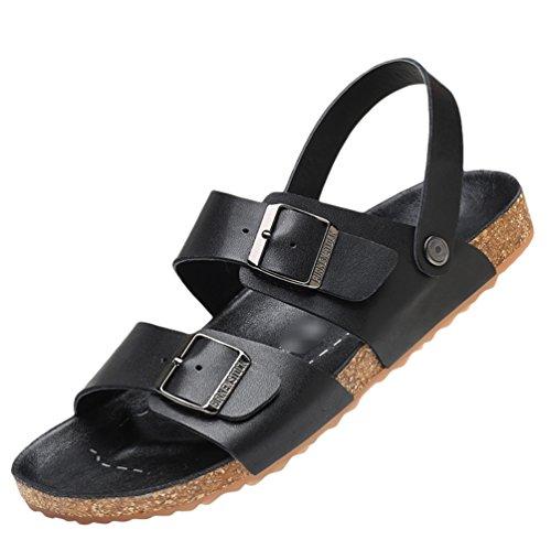 Yuandian uomo estate spiaggia pelle sandali all'aperto casuale fibbia antiscivolo resistente all'usura traspirante suola di sughero aperta punta infradito pantofole nero 39 eu/6 uk