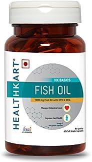 HealthKart Fish oil (1000 Omega 3, with 180 mg EPA & 120 mg DHA) for brain, heart and eye health, 60 soft