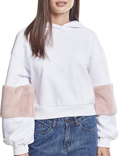 Urban Classics Damen Ladies Ballon Sleeve Teddy Hoody Kapuzenpullover, Mehrfarbig (Wht/Rose 01487), Large -