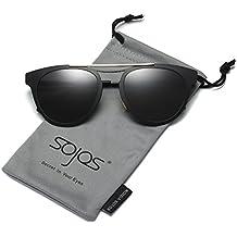 SojoS Gafas De Sol Unisex Hombre Mujer Ojo De Gato Doble Puente SJ1067