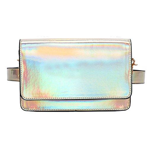 AiSi Damen Holo Hüfttasche/Umhängetasche, Hologramm Taillenbeutel, Holographic Leder Bauchtasche Mini Gürteltasche mit Verstellbaren Abnehmbaren Riemen Gold