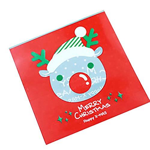Bodhi2000 100 pcs de Noël sachets à Bonbons en cellophane Père Noël Bonhomme de Neige Cadeau Cookie Sacs avec Autocollant Type 1