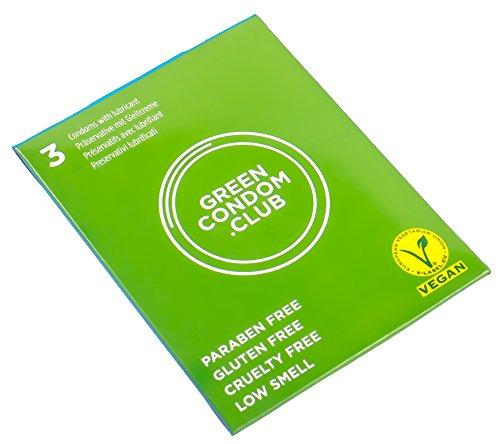Green Condom Club condones sin Gluten, sin Parabenos, certificado Vegano y con bajo olor – 3 paquetes