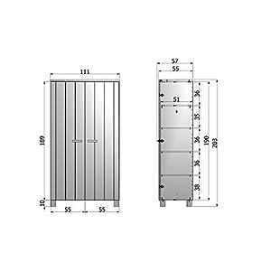 Armoire pin brosse anthracite, H202 x L111 x P55 cm -PEGANE-