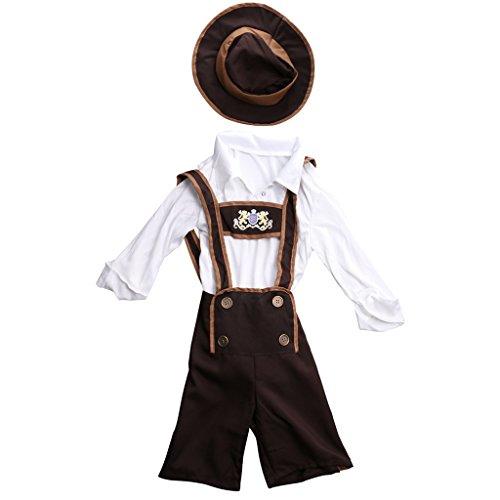 Gazechimp Oktoberfest Kostüm für Jungen | 3 -teiliges Wiesn-Kostüm: Hemd & Trachtenhose & Hut | Bayern Faschingskostüm für Kinder | Bayer Trachtenkostüm für Karneval - L