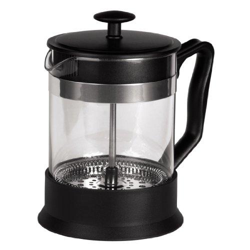 Xavax Kaffee French Press aus Glas (Kaffeebereiter 0,6 Liter, Edelstahlfilter, Kaffeezubereiter mit Sieb, eingebauter Kalkfilter, Kaffee-Bereiter) schwarz/silber
