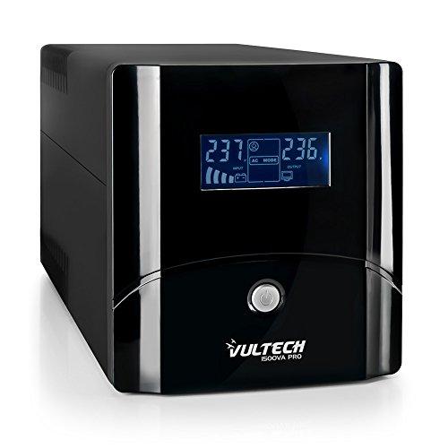 VulTech UPS1500VA-PRO Line Interactive Gruppo di Continuità con LCD, Nero [Italia]
